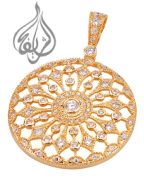 Circle Pendant with CZ Stones [PDT-1100]